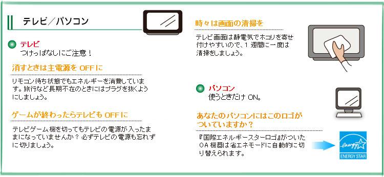 テレビ/パソコンの節電